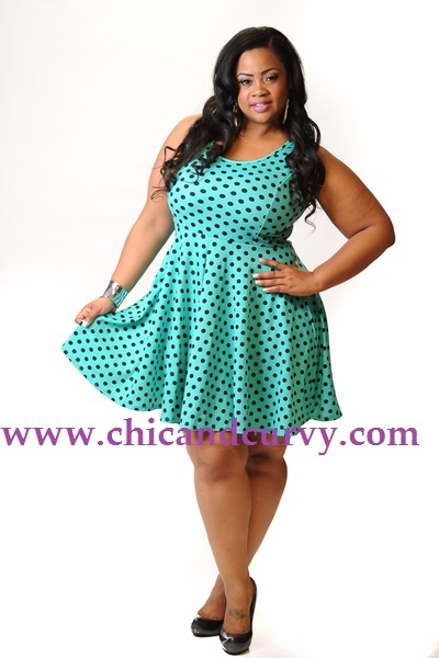 Curvy Fashionista Black Polka Dot Dress and Black Polka Dot Skater