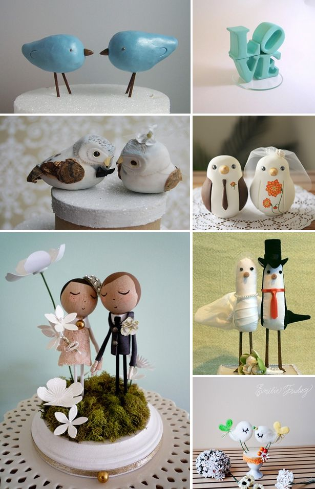 You can't miss them, because they are definitely the 'in' thing right now. Yes, Vintage/Shabby Chic Cake Toppers. It's not longer about the flowers or the monograms, but the little love birds, or words that are displayed on the top or around your wedding cake.  As I was playing around Etsy today I found a …