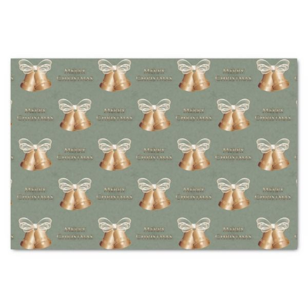 Copper Bells & Cream Bow Merry Christmas Tissue Paper #christmas #giftwrap #xmas #wrappingpaper #tissuepaper