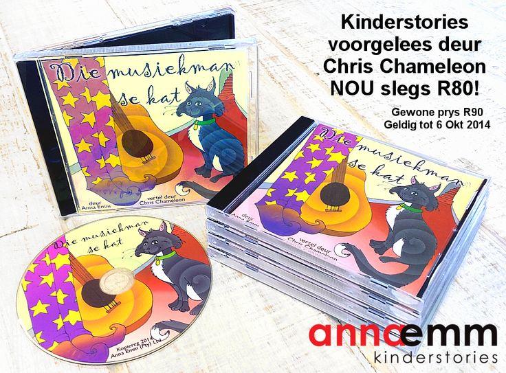 """""""Die Musiekman se Kat"""" is 'n CD met splinternuwe Afrikaanse kinderstories deur Anna Emm, voorgelees deur Chris Chameleon! Nou beskikbaar by AnnaEmm agente landswyd."""