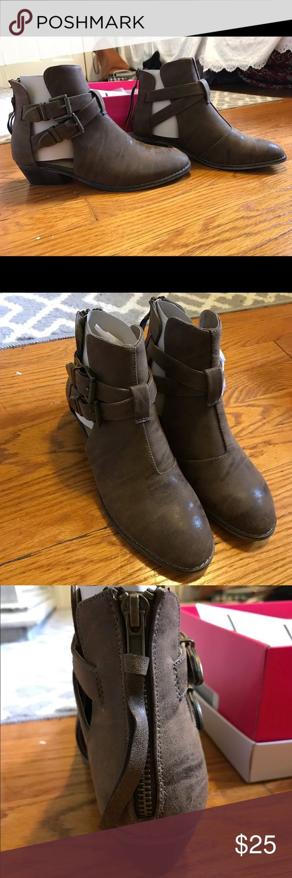 Short Ankle Boots Very cute, but never worn! Faux leather, brown, 1 inch heel. Shoes Ankle Boots & Booties