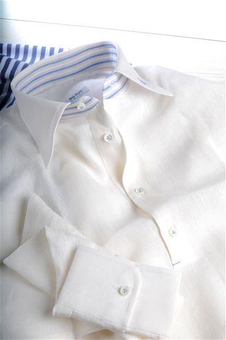 Polo Camicia Blue Beige in Lino a Righe Beige Azzurro e Bianco. | Camicie per Uomo Online | Vendita su Misura | Camicia a Quadri, Righe e Fantasia | Cravatte e polo sartoriali | Camicieuomo