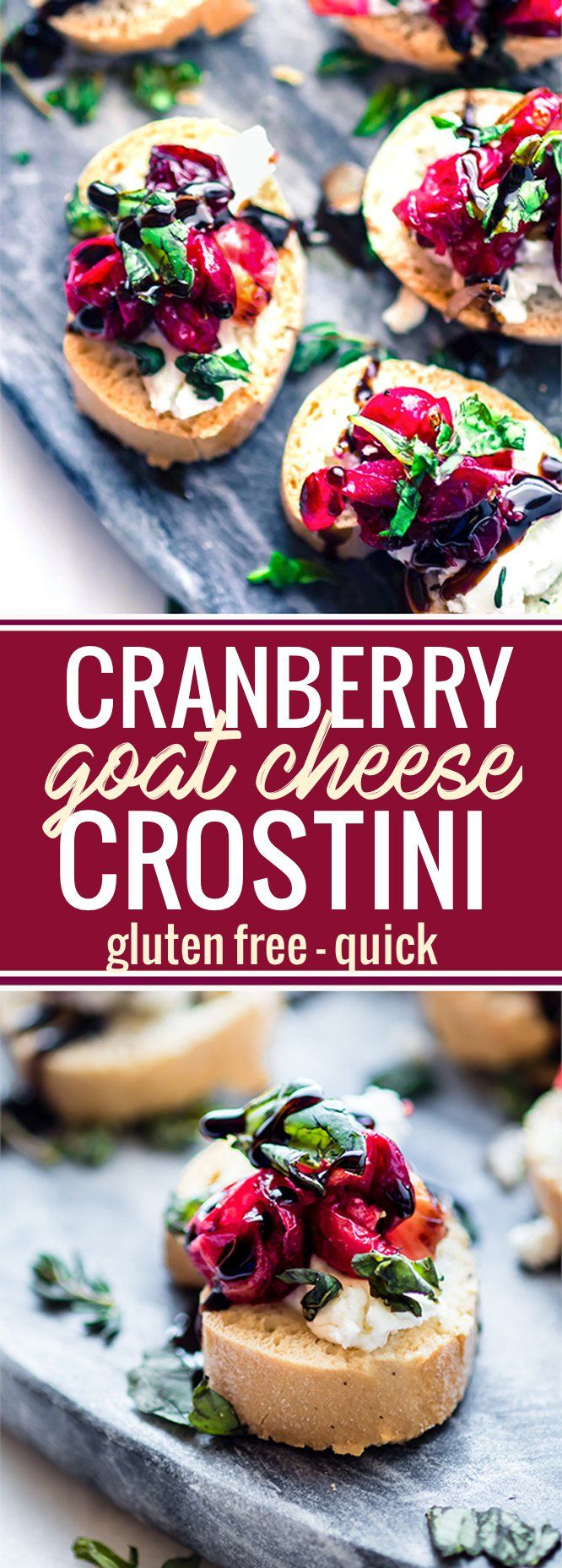 This quick cranberry goat cheese gluten free crostini is made with roasted balsamic cranberries, sweet onion, then topped with fresh basil and balsamic glaze. Super quick, easy, healthy, and a delicious! One of my favorite crowd-pleasing appetizers. www.cottercrunch.com @cottercrunch