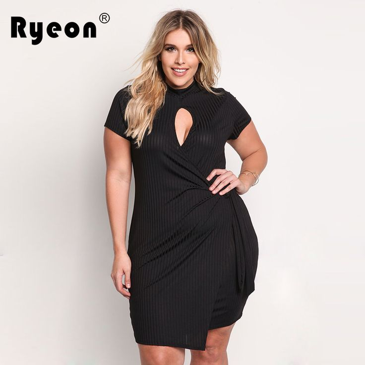 Ryeon Dresses Big Sizes Party Women Summer Dress 2017 Bandage Tunic Sexy Hollow Out Neck Black Pink Plus Size Bodycon Dress 3xl #Affiliate