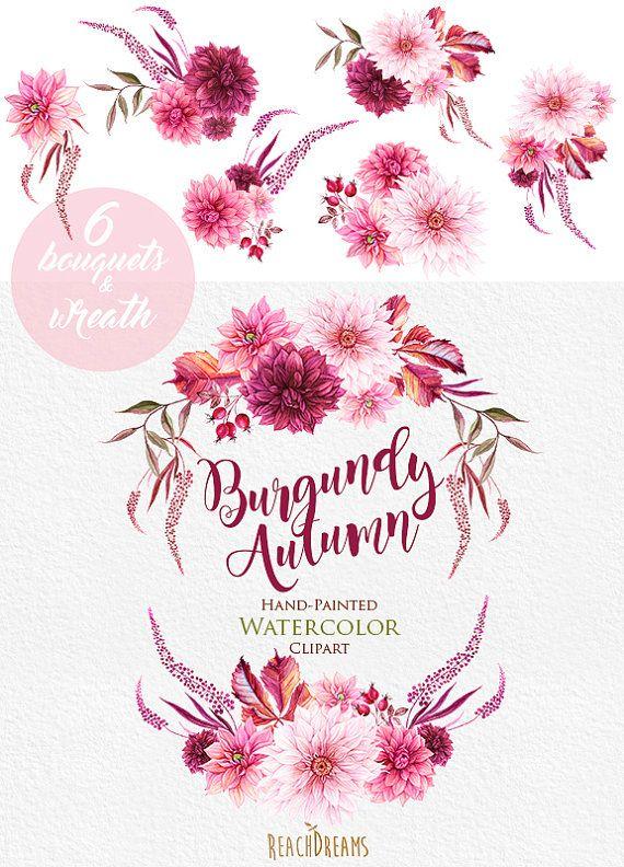 Dahlias Watercolor Wreath Amp Bouquets Clipart Burgundy