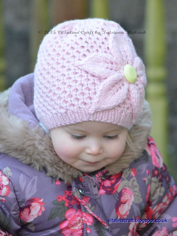 Knitting pattern for Cherry Flower Hat - Sizes for Adult, Teen, Child, Baby (6-12 months, 18-36 months, 4-6 years, 7-10 years and teen/adult) Hat is knitted with honey comb pattern and decorated with large flower. More pics on Etsy (affiliate link) tba