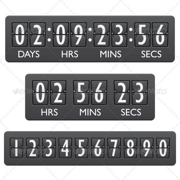 Countdown Timer Emblem by macrovector Countdown clock timer mechanical digits board panel indicator emblem vector illustration. Editable EPS and Render in JPG format