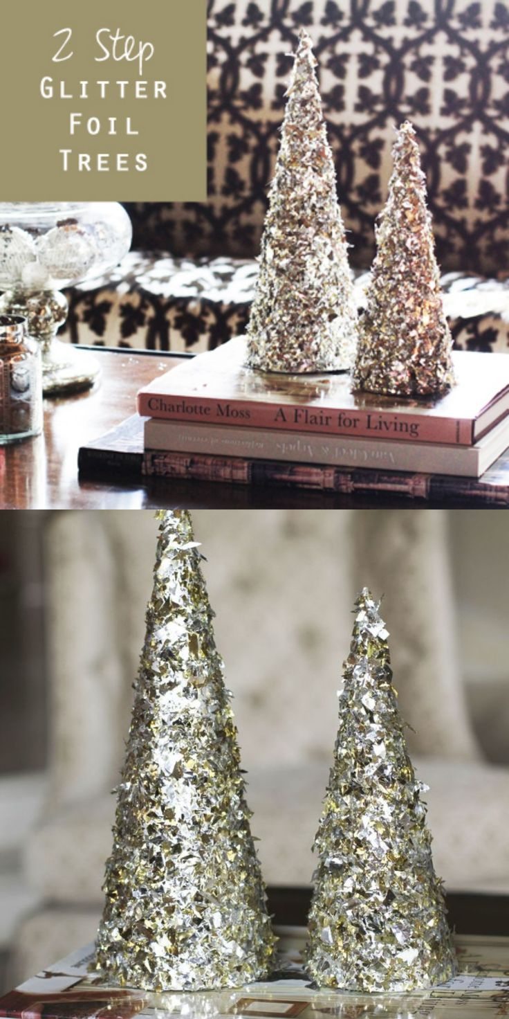 How to make 2 step glitter foil trees. Try with adding wedding colors- pearls- old jewelry brooches etc
