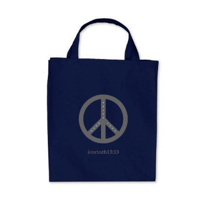 Faith Hope and Love Grocery Tote Bag (Navy) - diy cyo customize create your own #personalize