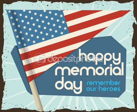 Retro Poster with Pennant for Memorial Day