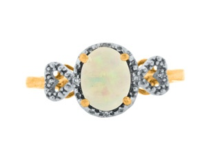 Diamond Oval Opal October Gemstone Yellow Gold Ring Available Exclusively at Gemologica.com