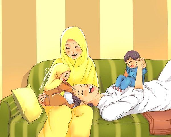 عائلة مسلمة سعيدة للفنانة نور اليانا