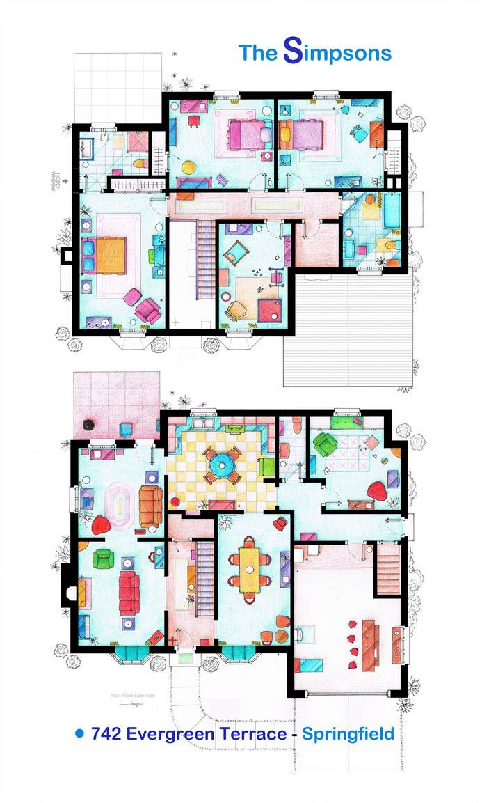 House Of The Simpsons Poster Version By Nikneuk On Deviantart House Floor Design Bathroom Floor Plans House Floor Plans