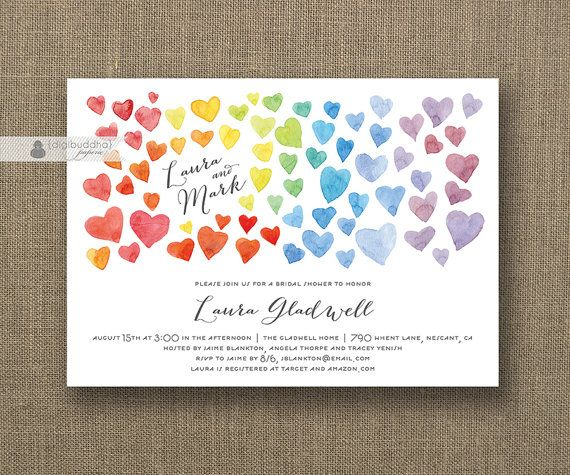 rainbow hearts bridal shower invitation ombre watercolor modern whimsical colorful wedding invite printable digital or printed - Rainbow Wedding Invitations