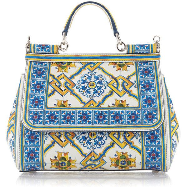 Dolce & Gabbana Calf Leather Dauphine Maiolica Medium Tile Bag ($2,400) ❤ liked on Polyvore featuring bags, handbags, shoulder bags, purses, blue, white shoulder handbags, blue shoulder bag, shoulder strap bags, white purse and shoulder handbags