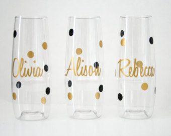 PLASTIC Champagne Flute Personalized by VictoriaAnnScaglione