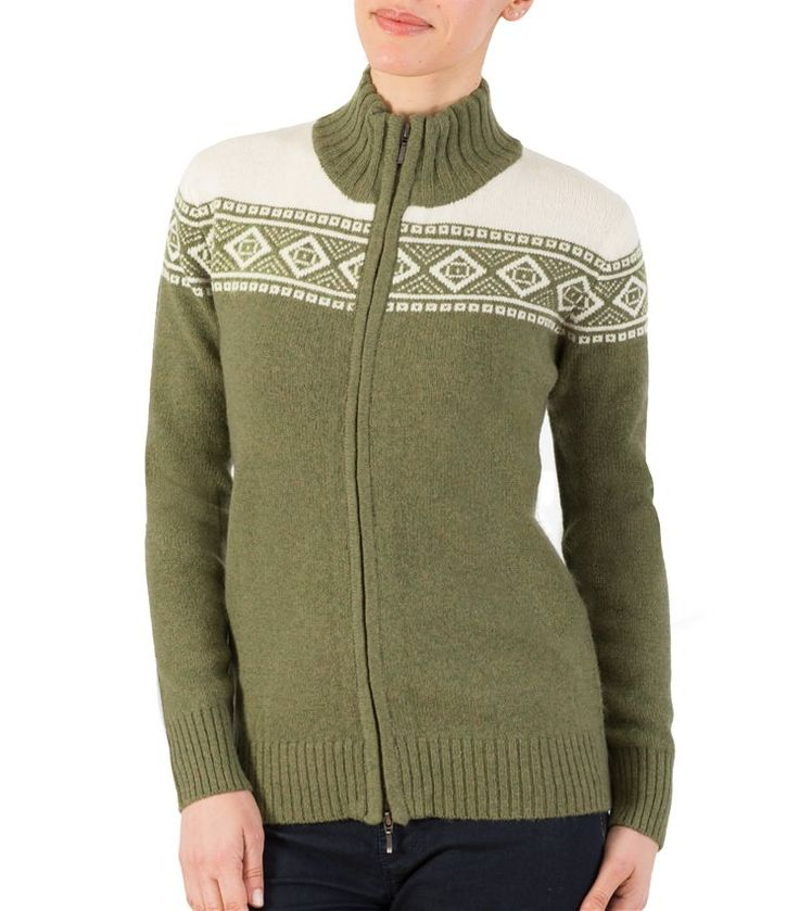 Womens Lambswool Fair Isle Zip Through Cardigan