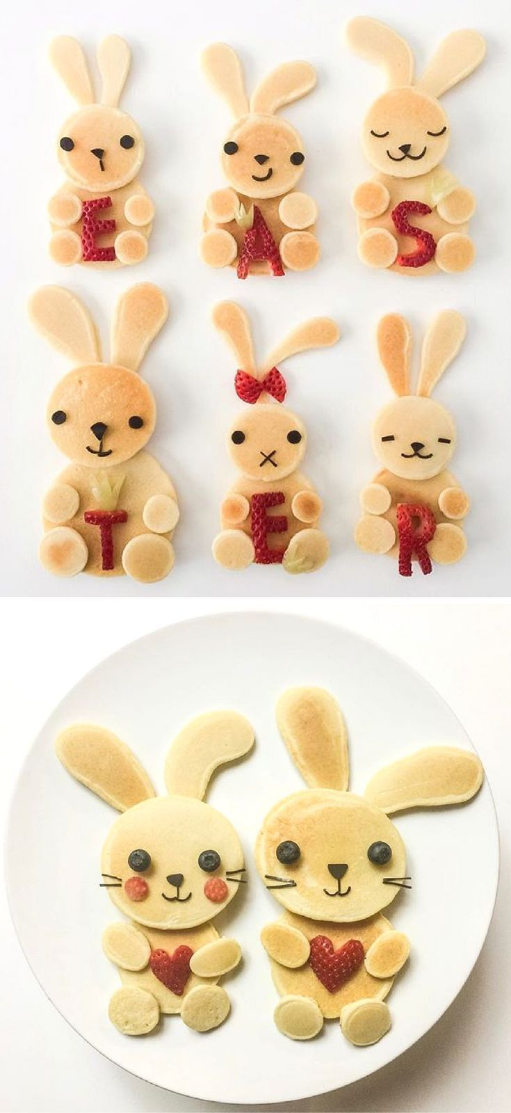 Fun Easter Food Ideas for Kids | Creative Easter themed recipes to make for your children for Breakfast (bunny pancakes!), Brunch, Lunch or a Healthy Snack. Plus, sweet treats and desserts that are perfect for your child's school class party or just for fun - super cute yet easy including cakes, bark, brownies, peeps, bunnies, lambs, mini eggs, rice krispies and more! Head to http://whatmomslove.com for all the recipes.