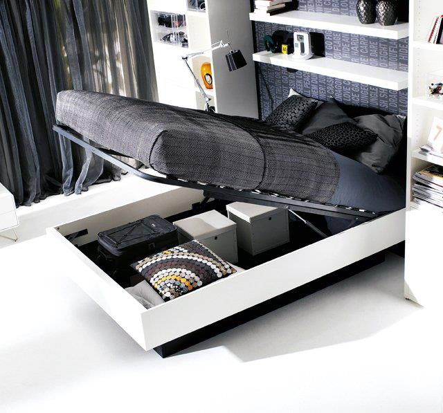 Love this, and the room too! Great idea and lots of storage. Hydraulic Storage Bed by BoConcept