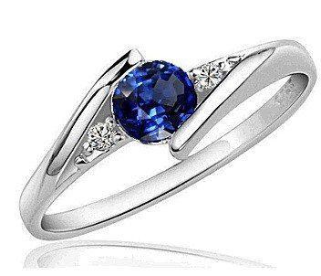 Anillo Compromiso Oro Blanco 14k, Zafiro Y Diamante Natural - $ 2,690.00