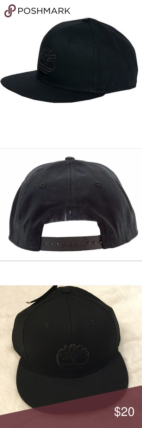 "NWT Timberland Raised Logo Snapback Raised logo embroidery at front, flat brim.  Adjustable snapback closure.  Sweatband at reverse.2 7/8"" brim.  100% cotton.  Color: Black. Timberland Accessories Hats"