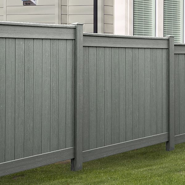 I Love The Grey Color Of This Pvc Fence The Color And Design Make It Look Very Contemporary My Husband And I Are Cons Pvc Fence Vinyl Fence Wood Fence Design