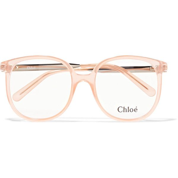 Chloé Myrte square-frame acetate optical glasses ($300) ❤ liked on Polyvore featuring accessories, eyewear, eyeglasses, glasses, sunglasses, аксессуары, peach, retro glasses, acetate glasses and square frame glasses
