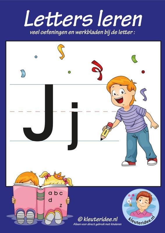 Pakket over de letter j blad 1, voorkant, letters aanbieden aan kleuters, kleuteridee.nl, free printable