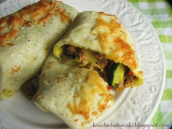 kruche babeczki: Zapiekane naleśniki z mięsem i warzywami