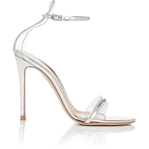 Gianvito Rossi Women's G String Satin & PVC Sandals ($845) ❤ liked on Polyvore featuring shoes, sandals, silver, open toe high heel shoes, silver metallic sandals, leather sole sandals, silver metallic shoes and open toe sandals