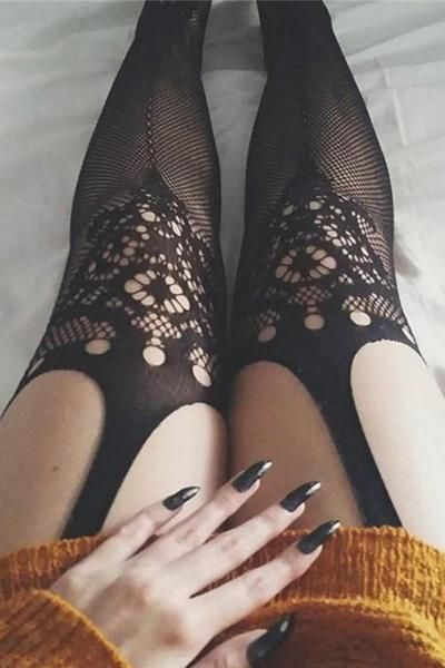 5b1d87364db Polyester Fabric Fishnet Pantyhose Jacquard Crochet High Thigh Garters Type  Open Crotch Design Retro / Sexy / Party Style 1 PC for 1 PAC AVAILABLE IN  COLOR ...