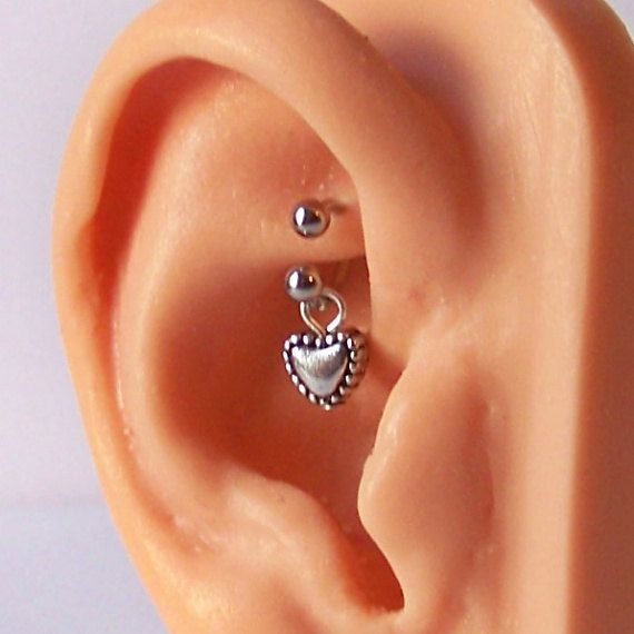 Rook Piercing - Tragus Piercing - Helix Piercing - Cartilage Piercing - Heart Dangle - Rook Jewelry - Choose Your Style