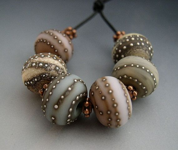 Naos Glass - Rustic Dinner Mints - Pastel Pink Blue Mint Green Fine Silver Chunky Rondelle Set - Made To Order Handmade Lampwork Beads - SR on Etsy, $55.00