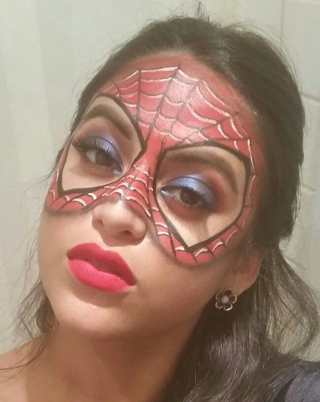 Spiderman makeup mask #Superhero #SpidermanMask #Spiderman #makeup #halloween