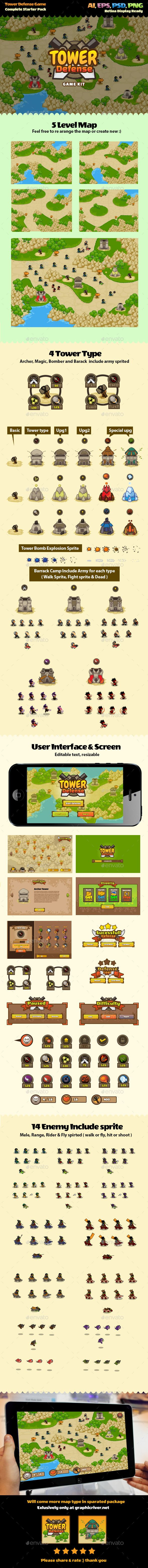 Tower Defense Game Kit — Photoshop PSD #mobile td #tower defense • Available here → https://graphicriver.net/item/tower-defense-game-kit/11707129?ref=pxcr