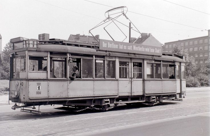 Tram with political slogan, East Berlin, c. 31 July 1960 | by allhails