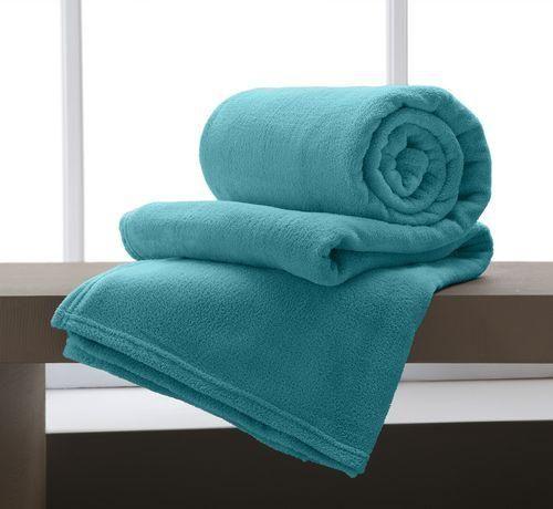 Foto 1 - Cobertor Manta Microfibra Casal 180x220cm Home Design Azul Turquesa Corttex