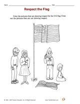 Distribute a printable social studies activity that focuses on flag etiquette. #FlagDay