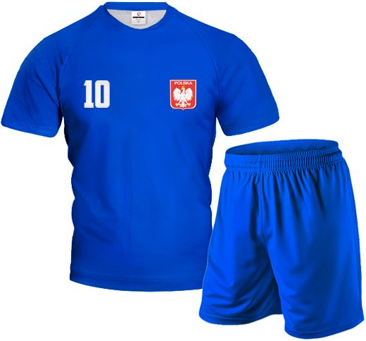FULL COLOR Komplet Sportowy z Wlasnym Nadrukiem Niebieski