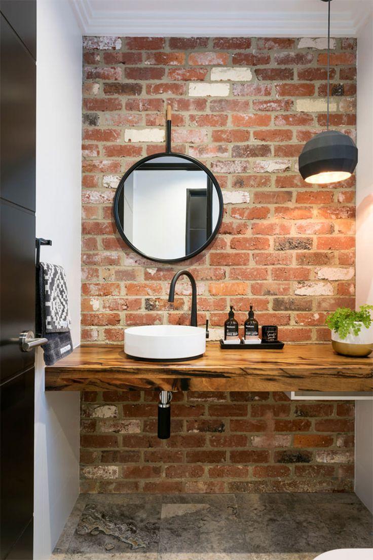 Love The Exposed Brickwork In This Bathroom Pia De Banheiro