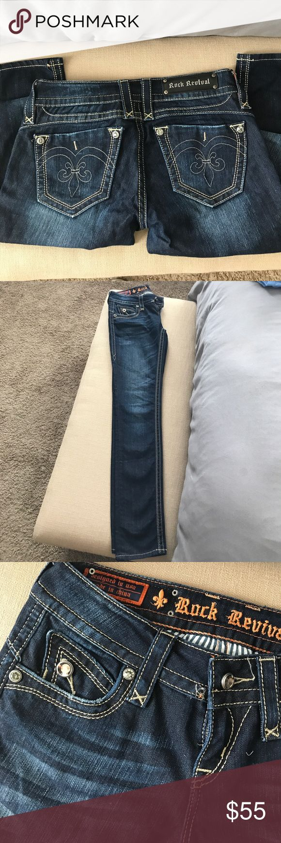 Rock Revival Skinny Jeans - perfect condition Perfect condition. No holes or stains. All of the buttons are attached. Zipper works perfect. They are size 27 and the Adele Skinny Rock Revival Jeans Skinny