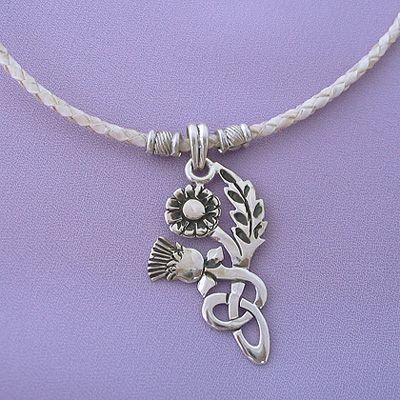 Silver Celtic Thistle Flower Pendant Choker