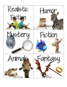 Book Genre Labels- without cheesy clipart!