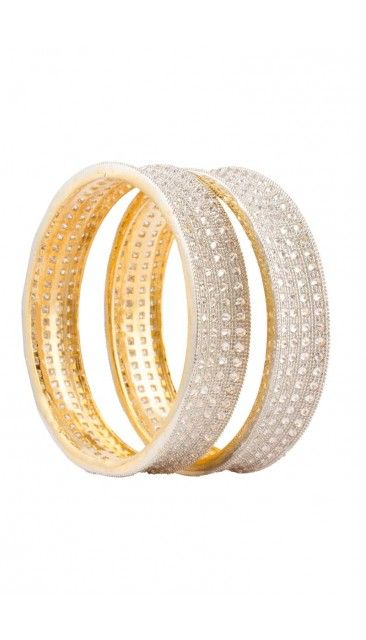 Gold Plated Ethnic Indian bangle with shimmering crystal embellishment - 80956