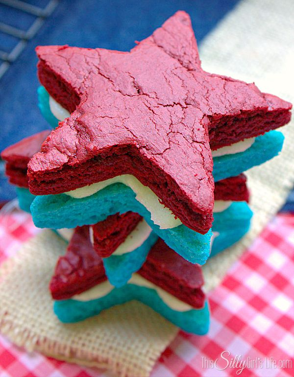 Patriotic Brownie Sandwich Cookies, decadent cream cheese frosting ...