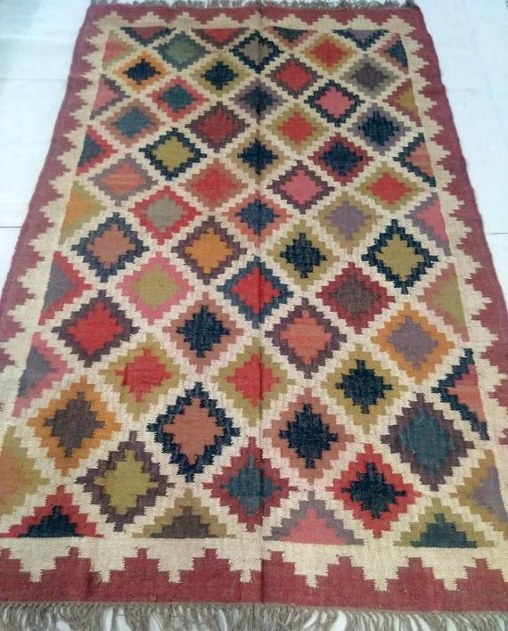 5 X 8 Sq Ft Multi Color Handmade Traditional Wool Jute Killim Etsy In 2020 Killim Rug Rug Decor Artisan Rugs