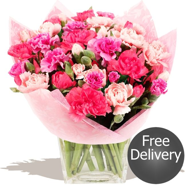 Candy  This florist arranged bouquet includes Spray Carnations in shades of pink through to lilac. Offering great value a long lasting bouquet that's sure to delight #wedding #flowers