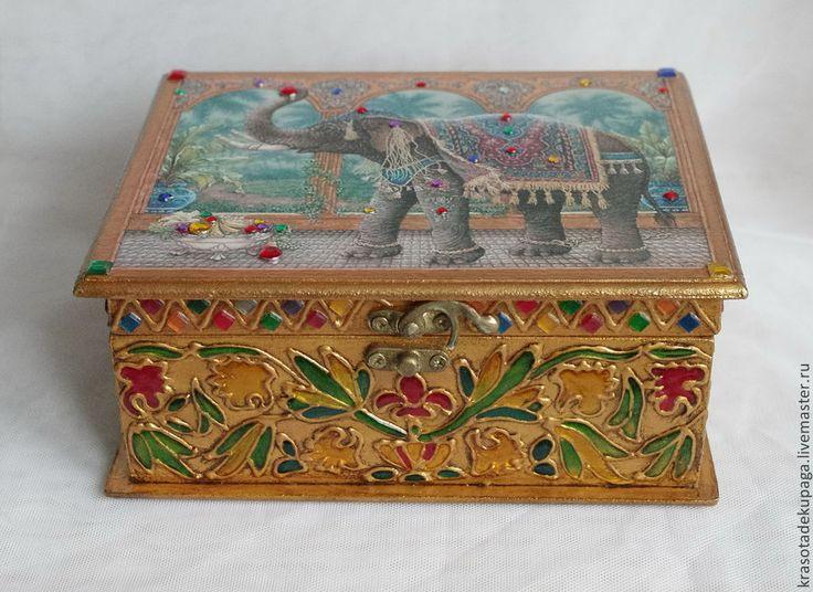 """Купить Шкатулка для украшений """"Индийский слон"""", декупаж. - золотой, декупаж работы, ручная работа"""