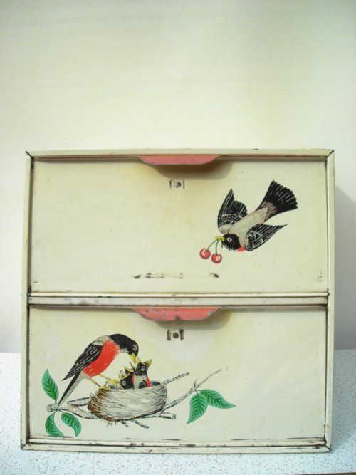 sweet vintage bread box with birds
