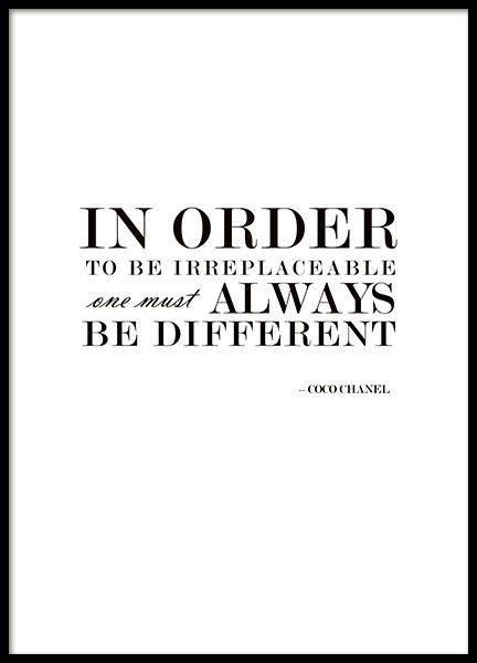Póster con texto con cita de Coco Chanel, diseño de MHMP.